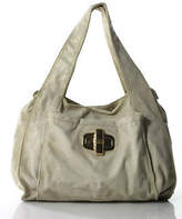 B. Makowsky Gold Metallic Leather Gold Hardware Shoulder Handbag