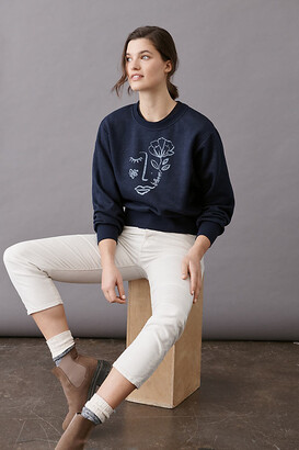 Maeve Visage Graphic Sweatshirt By in Blue Size XS