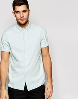 Asos Denim Shirt in Bleach Wash with Short Sleeves In Regular Fit