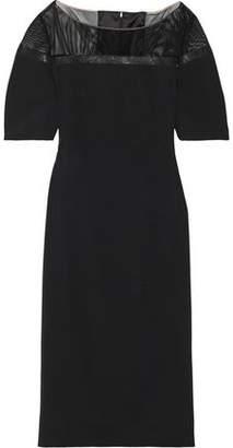 Akris Bead-embellished Mesh-paneled Stretch-silk Dress