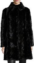 Gorski Reversible Mink Fur Down Feather Coat, Black