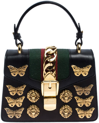 Gucci Black Leather Mini Sylvie Animal Stud Embellished Top Handle Bag
