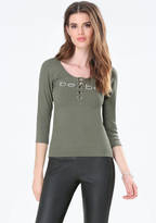 Bebe Logo 3/4 Sleeve Lace Up Top