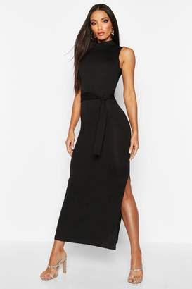 boohoo Brushed Tie Front Funnel Neck Midaxi Dress