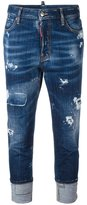 DSQUARED2 London cropped jeans - women - Cotton/Spandex/Elastane/Leather/Polyester - 36