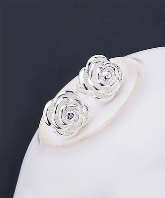 AG Jeans Sterling Jewelry Women's Earrings Silver - Sterling Silver Rose Flower Stud Earrings