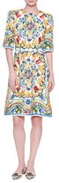 Dolce & Gabbana Half-Sleeve Maiolica Tile-Print Dress, White/Blue/Yellow