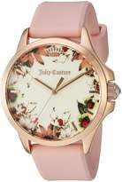 Juicy Couture Women's 'Jetsetter' Quartz Gold and Silicone Automatic Watch, Color: Pink (Model: 1901485)