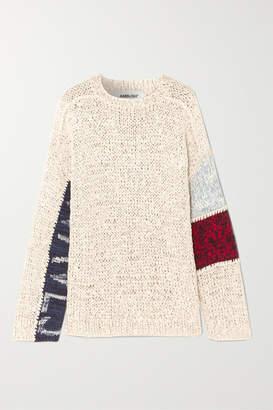 Ambush Waves Patchwork Cotton-blend Sweater - Beige