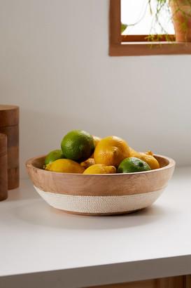 Woven Trim Mango Wood Serving Bowl