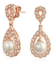 Bling Jewelry Bridal Filigree White Dangle Imitation Pearl Earrings Silver Plated