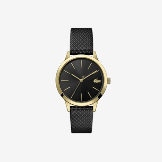 Lacoste Ladies 12.12 Premium Watch with Black leather with embossed petit pique pattern Strap