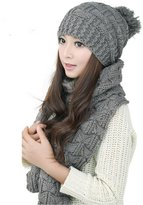 Franterd Women's Warm Woolen Knit Scarf Shawl Caps & Hats Set