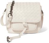 Bottega Veneta Saddle Mini Intrecciato Leather Shoulder Bag - White