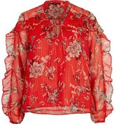 River Island Womens Red floral print frill blouse