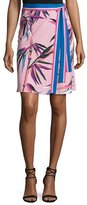Emilio Pucci Palm-Print Wrap Skirt, Pink/Multi