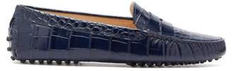 Tod's Gommini Crocodile-embossed Leather Loafers - Womens - Navy