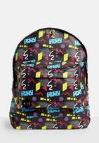 Missguided Mi pac Black 80s Abstract Printed Backpack, Black