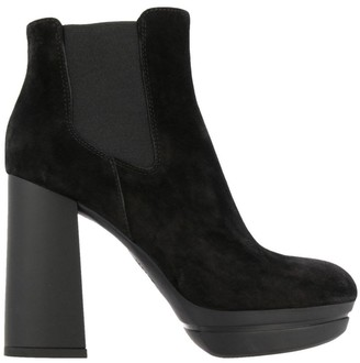 Hogan Heeled Booties H391 Opti Ankle Boots In Suede With Elasticated Bands And Wide Heels