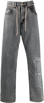 Aries Mid-Rise Drawstring Straight-Leg Jeans