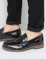 Ben Sherman Stepney Penny Loafers In Black Leather