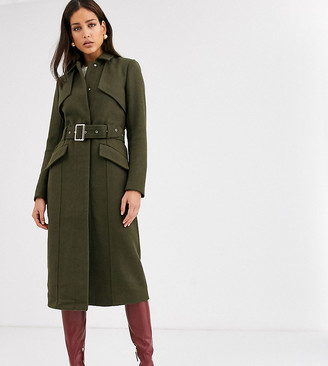 Y.A.S Tall belted military coat in green