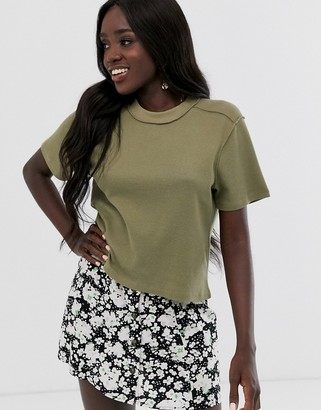 Asos Design DESIGN boxy t-shirt in waffle with exposed seams-Green