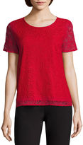 Liz Claiborne Short Ruffle Sleeve Crew Neck Lace T-Shirt