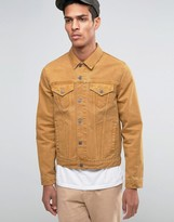 Asos Slim Denim Jacket In Mustard