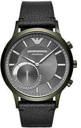 Emporio Armani Men's 'Hybrid' Quartz Stainless Steel and Leather Smart Watch