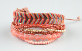 Full Tilt 6 Piece Woven Faux Leather and Beaded Bracelets