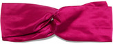 Jennifer Behr Leather-trimmed Silk-satin Headband - Pink