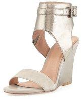Joie Waylen Ankle-Strap Wedge Sandal, Nude/Gunmetal