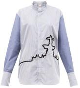 Kilometre Paris - 10 Place De La Concorde Cotton-poplin Shirt - Womens - Blue Print
