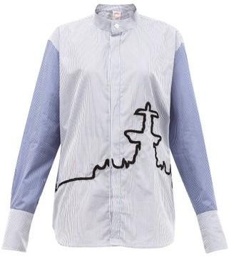 Kilometre Paris - 10 Place De La Concorde Cotton-poplin Shirt - Blue Print