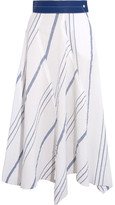 Loewe Leather-trimmed Striped Cotton And Linen-blend Midi Skirt - Off-white