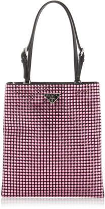Prada Leather-Trimmed Crystal-Embellished Nylon Mini Bag