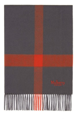 Mulberry Large Check Lambswool Scarf Seal Grey Lambswool