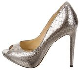 Alexandre Birman Embossed Peep-Toe Pumps