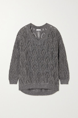 Brunello Cucinelli Sequin-embellished Pointelle-knit Linen-blend Sweater - Gray