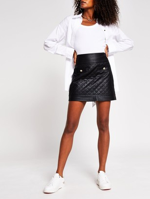 River Island Quilted PU Mini Skirt - Black