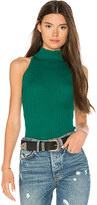 Autumn Cashmere Rib Mock Neck Halter Sweater in Green
