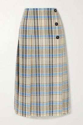 Victoria Beckham Pleated Checked Wool Midi Skirt - Light blue