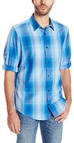 Calvin Klein Men's Long Sleeve Roll Up Cotton Tencel Large Scale Plaid Shirt