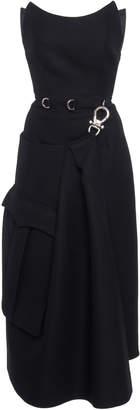 Prada Strapless Belted Crepe Midi Dress