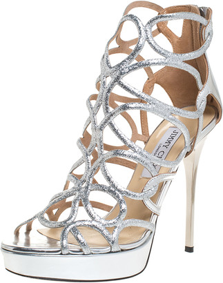 Jimmy Choo Metallic Silver Leather And Stardust Glitter Suede Cutout Open Toe Platform Sandals Size 38