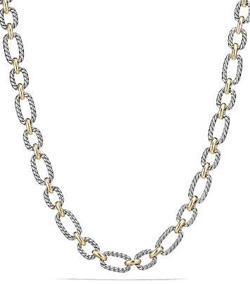 David Yurman Cushion Chain Link Necklace with Blue Sapphires and 18K Gold