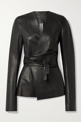 Rick Owens Leather Wrap Jacket - Black