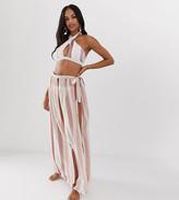 Miss Selfridge Exclusive printed wrap maxi skirt