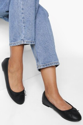 boohoo Wide Fit Quilted Ballet Pumps